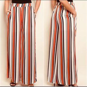 Pants - Boho festival  orange stripe pocket pants